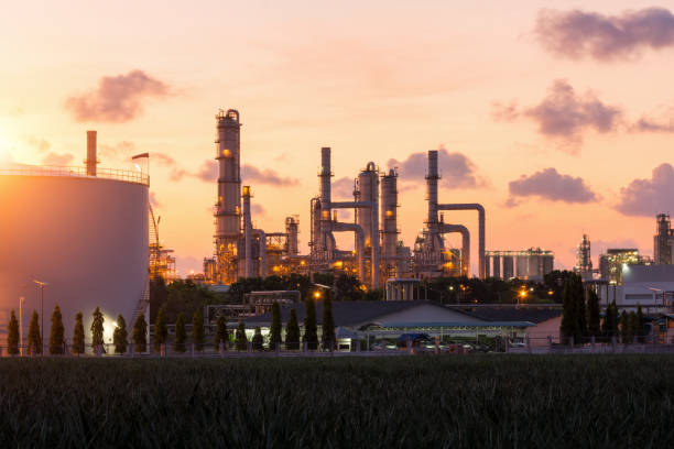 Oil Refinery factory at twilight stock photo