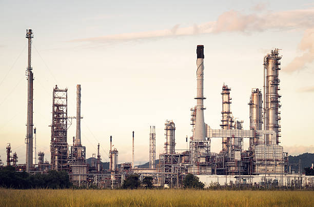 oil refinery factory in the morning , petrochemical plant , petroleum. - refinery stock photos and pictures