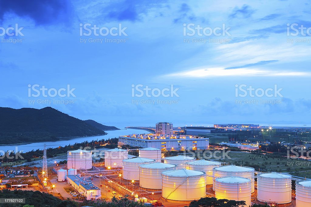 Oil refinery factory pictured at dawn stock photo