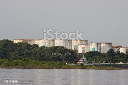 August 28, 2013 - Manaus, Brazil: Oil tanks stock gasoline and oil at the Manaus oil refinery located besides the Rio negro river. Petrobras company is the biggest oil industry in the South America.