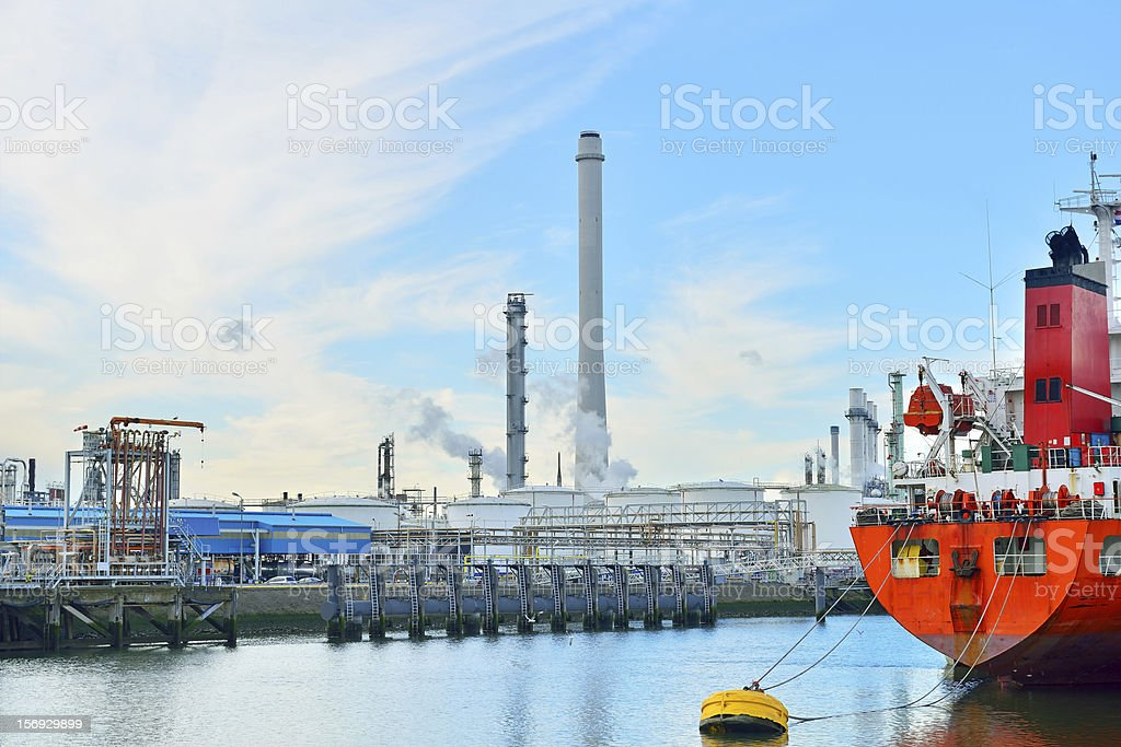 oil refinery in the harbor of rotterdam royalty-free stock photo