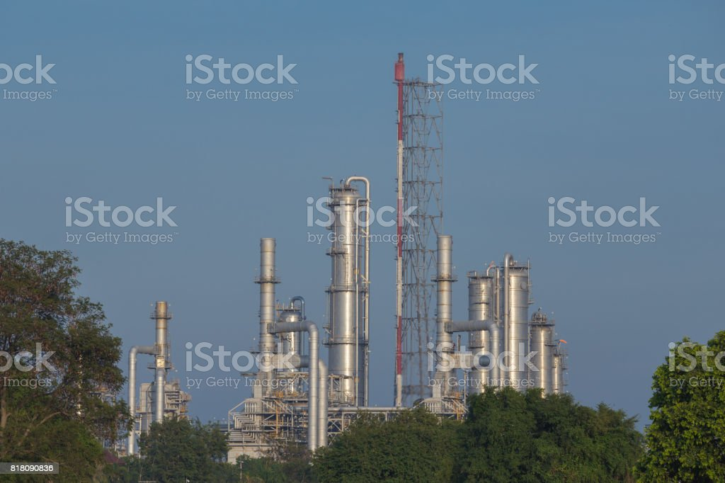 Oil refinery industrial plant with sky stock photo