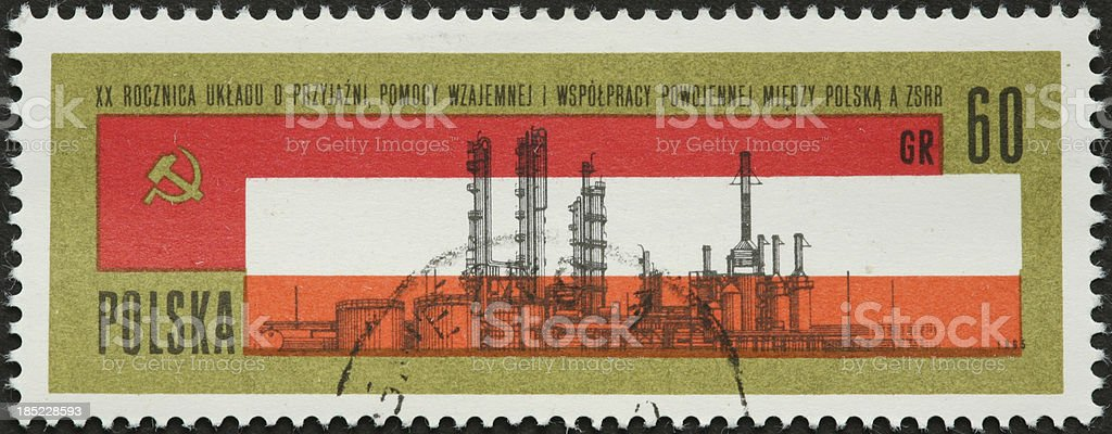 oil refinery on an old Polish postage stamp royalty-free stock photo