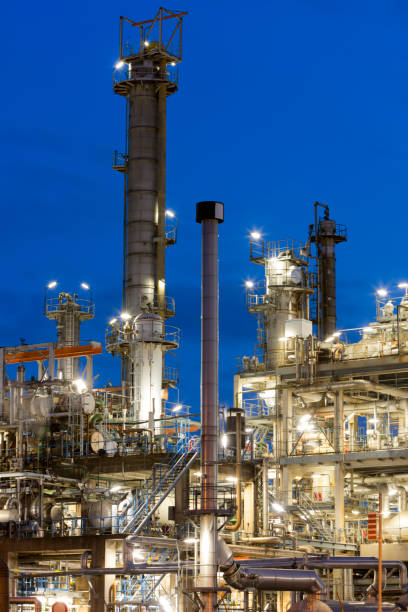 Oil Refinery, Petrochemical Plant Area After Sunset stock photo