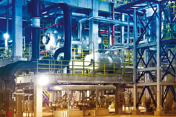 Oil Refinery, Petrochemical Plant Equipment - foto de stock