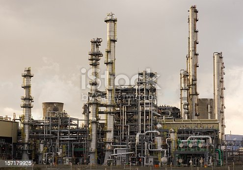 Part of Grangemouth Petrochemical Plant in Central Scotland, photographed in the evening.
