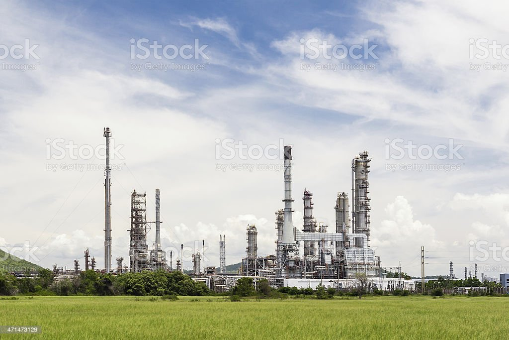 oil refinery plant against blue sky royalty-free stock photo