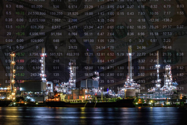 Oil refinery plant, Crude oil stock price index, energy index. Double exposure stock photo