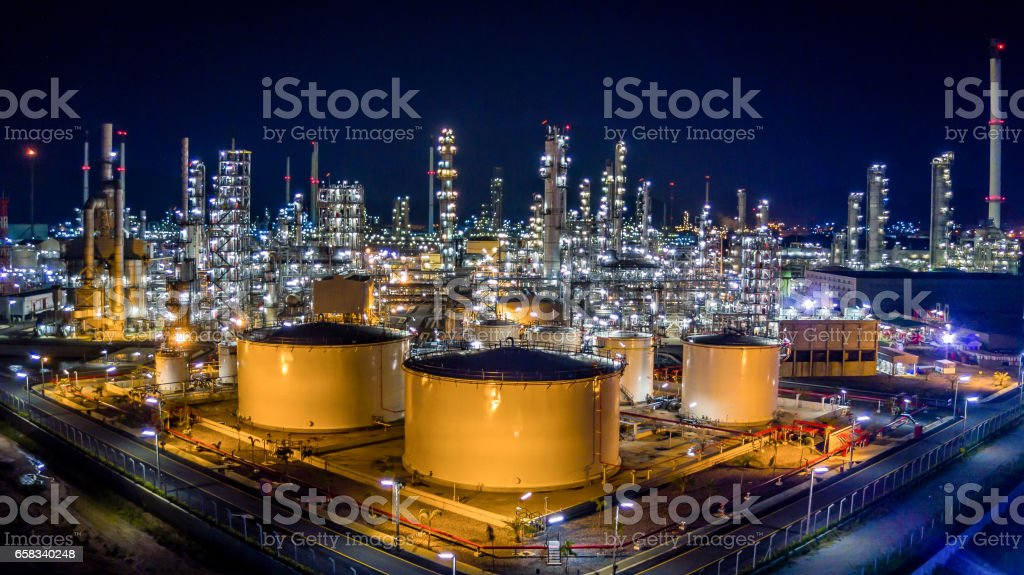 Oil refinery plant from bird eye view stock photo