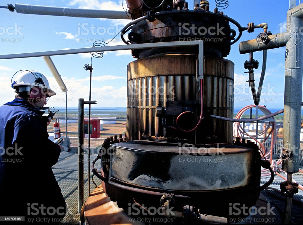 Oil Refinery Safety Inspector royalty-free stock photo