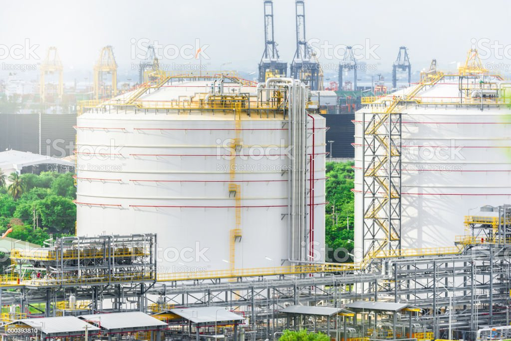 Oil Refinery Tanks, Natural Gas storage tanks, Petrochemical pla stock photo