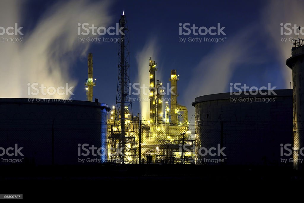 Oil Refinery With Fuel Tanks royalty-free stock photo