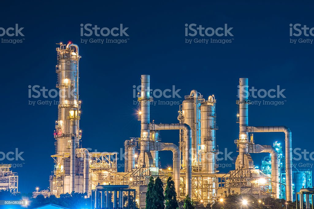 Oil Refinery with twilight sky royalty-free stock photo