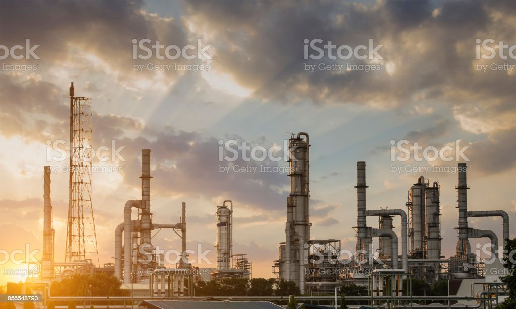 Oil Refining Industry The morning sunrise stock photo