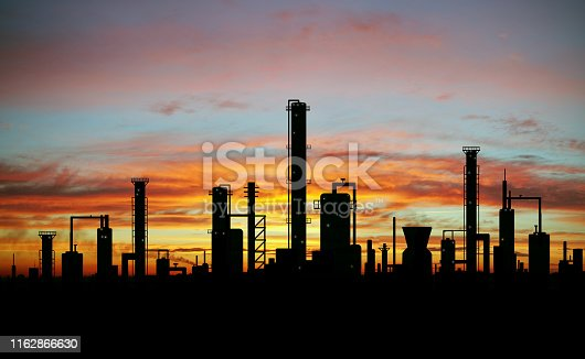Hand painted oil refinery