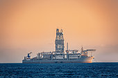 Oil research and exploration seismic vessel or ship in sea