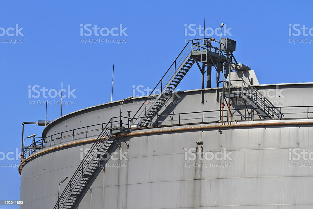 Oil reservoir on a petrochemical plant royalty-free stock photo