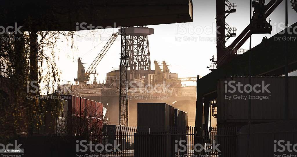 Oil Rig and Containers stock photo