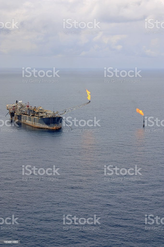 Oil Rig and Flares royalty-free stock photo