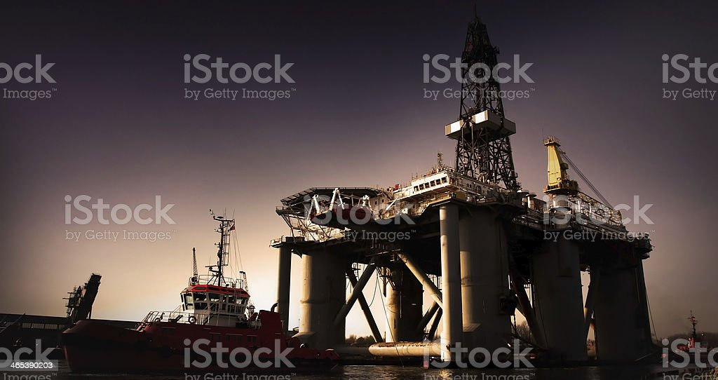 Oil Rig and Tugs royalty-free stock photo