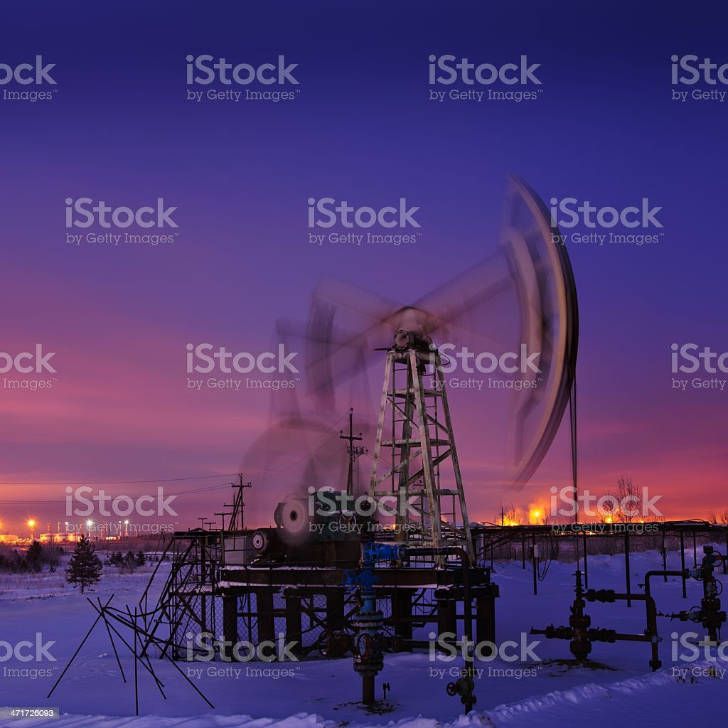 Oil rig at night. royalty-free stock photo