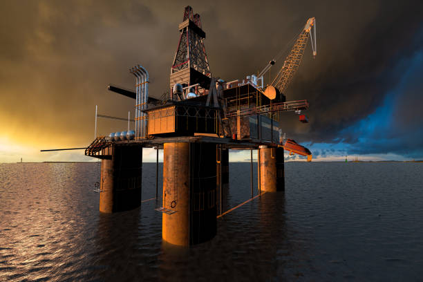 oil rig at sea against the stormy sky just before sunset