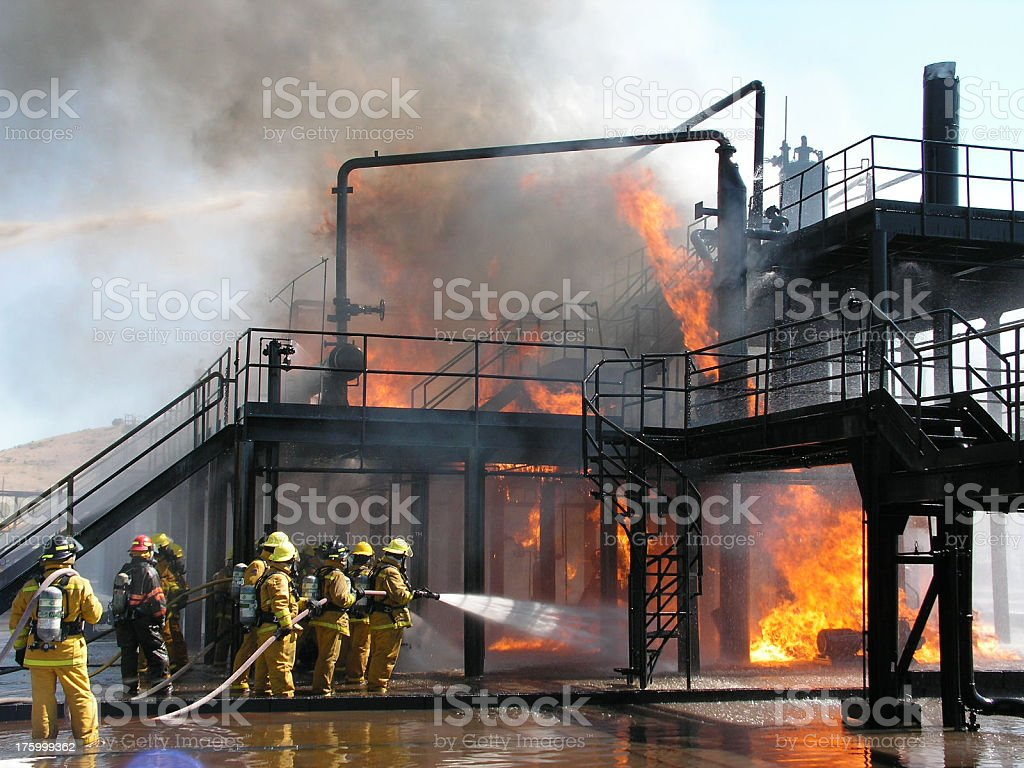 Oil Rig Fire stock photo