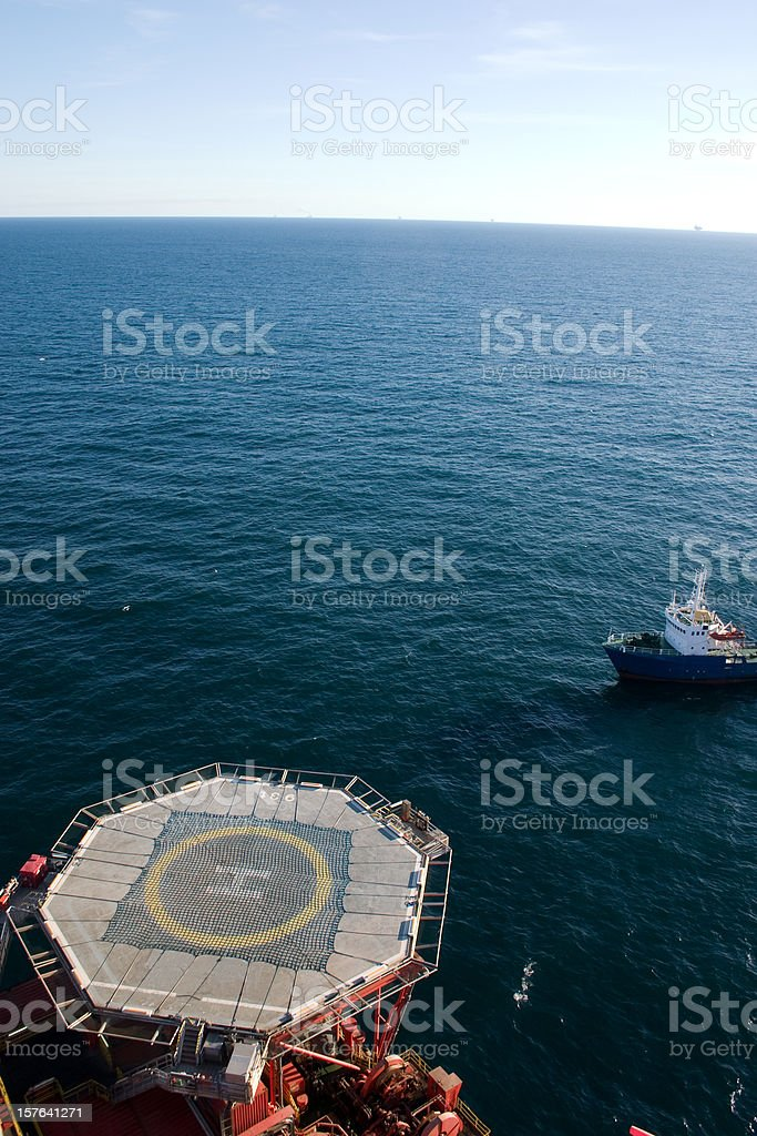 oil rig helideck at sea royalty-free stock photo