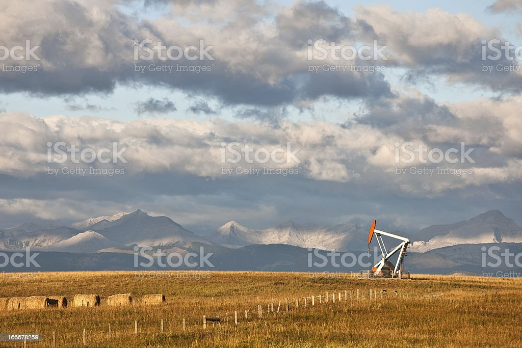 Oil Rig in Alberta in Fall royalty-free stock photo