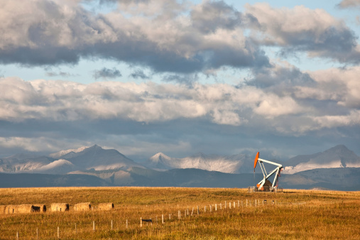 Oil Rig In Alberta In Fall Stock Photo - Download Image Now