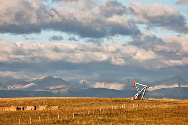 Oil Rig in Alberta in Fall stock photo