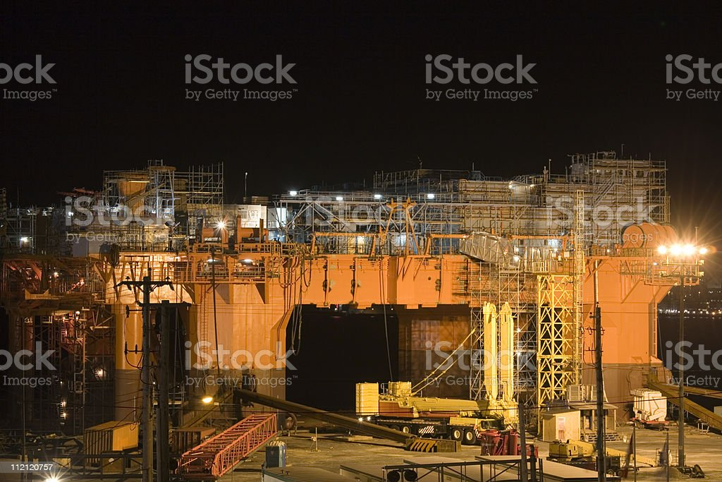 Oil Rig in Dry Dock royalty-free stock photo