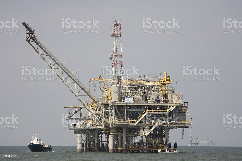 Oil Rig in Gulf Coast royalty-free stock photo