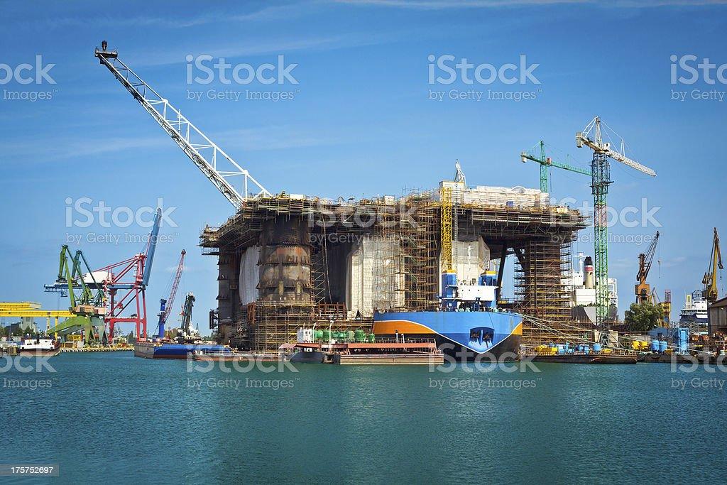 Oil rig in shipyard stock photo