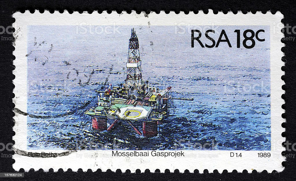 Oil Rig (Platform)-Industrial Equipment Stamp royalty-free stock photo