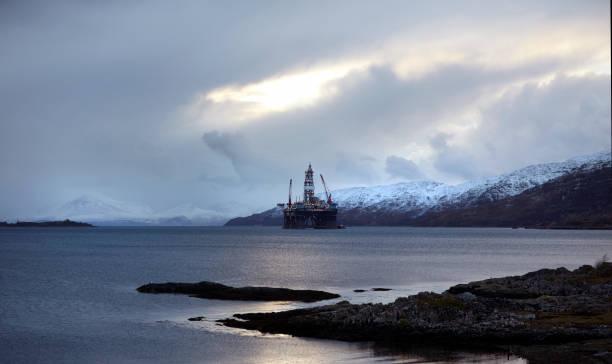 Oil Rig, Kishorn, Scottish Highlands stock photo