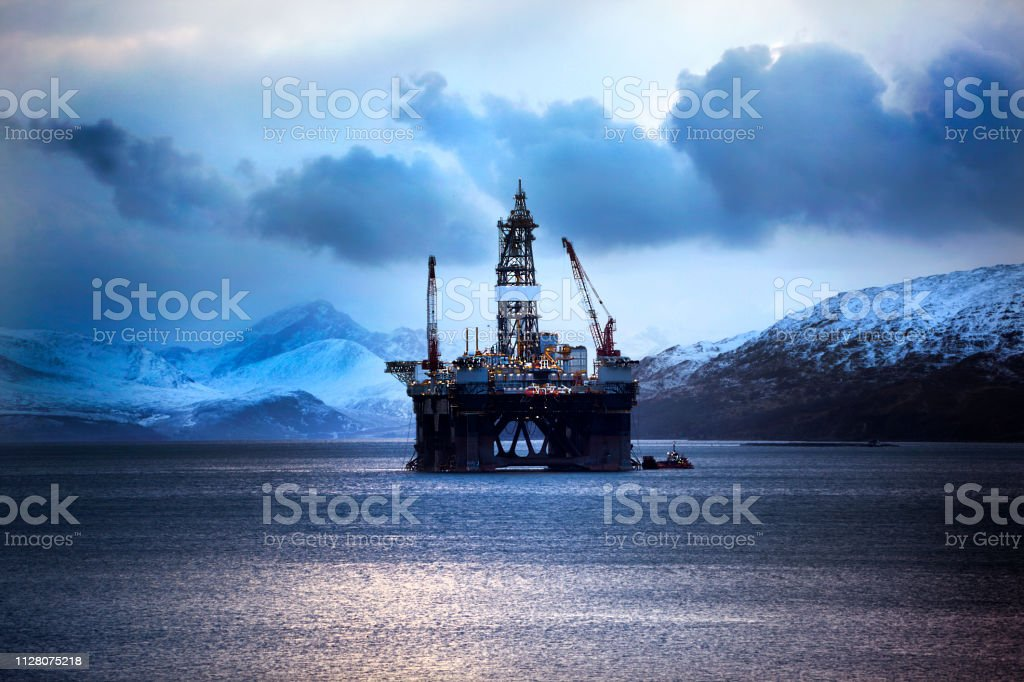 Oil Rig, Kishorn, Scottish Highlands stock photo
