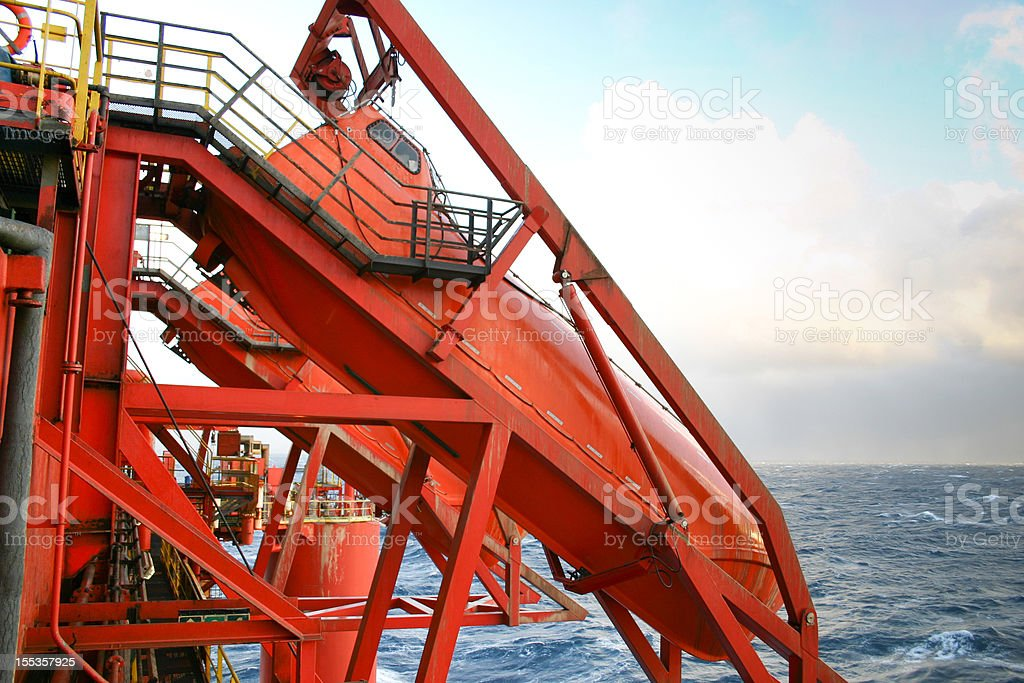 oil rig lifeboat royalty-free stock photo
