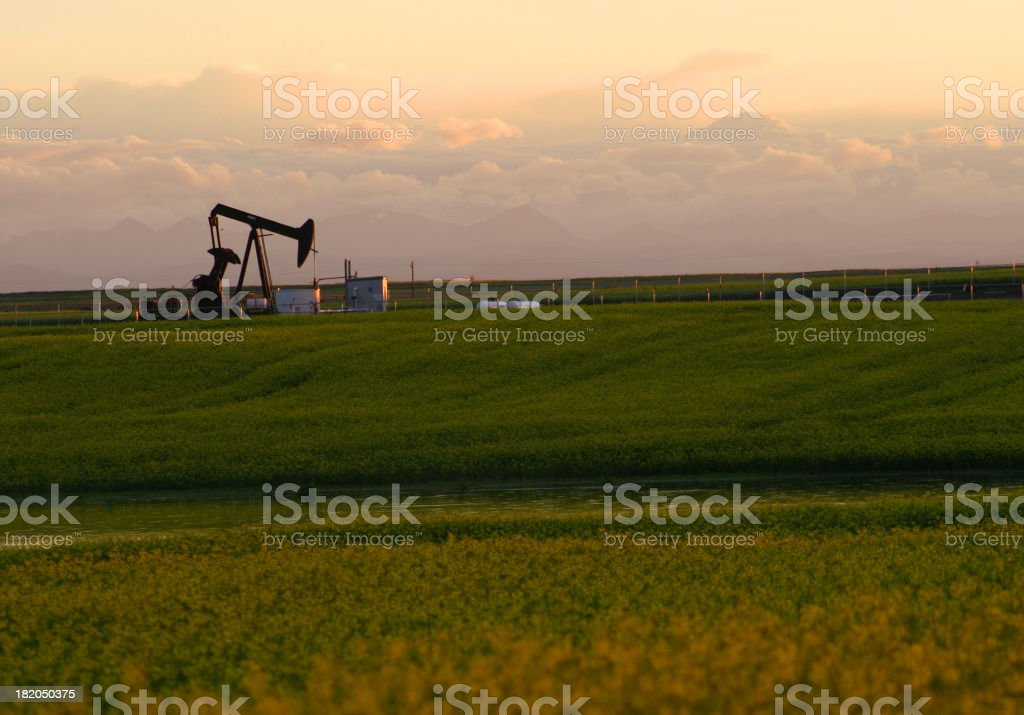 Oil rig on a grass field with a cloudy sky stock photo
