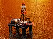 Detailed oil rig platform.