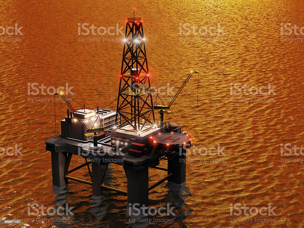 Oil rig on the sea. stock photo