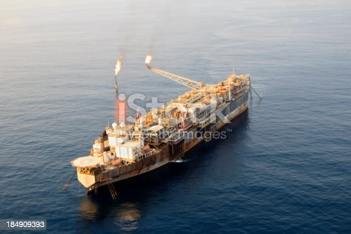 Aerial photograph of an oil rig type known as an FPSO.