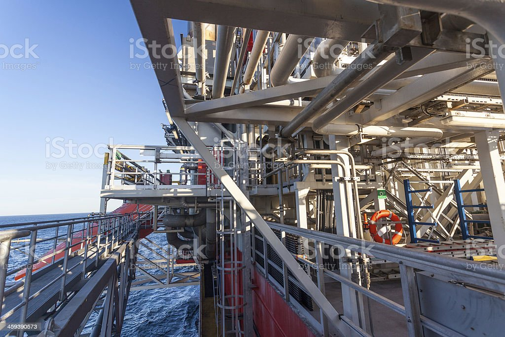 oil rig platform deck at sea stock photo
