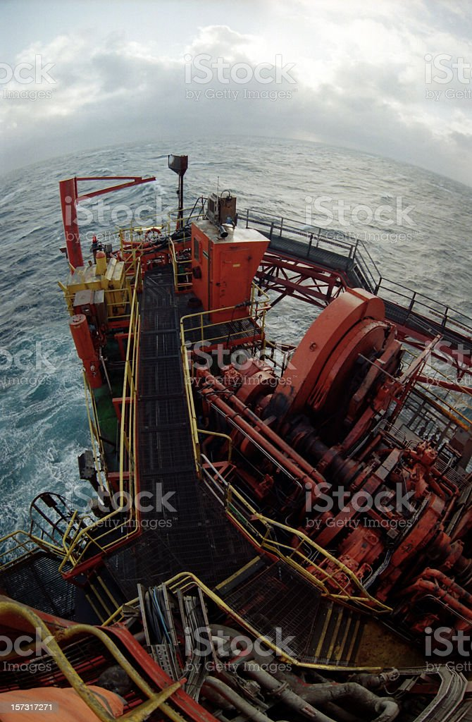 oil rig platform fisheye view royalty-free stock photo