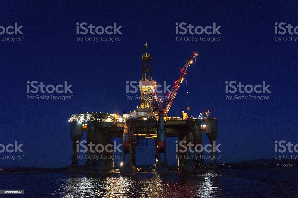 oil rig platform pontoon at sea royalty-free stock photo