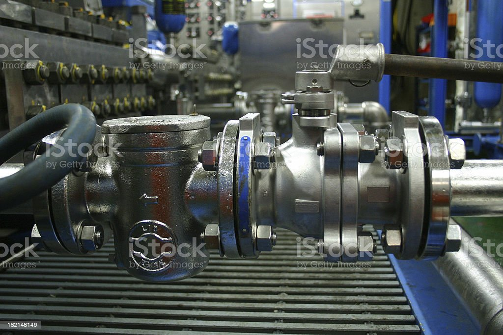 oil rig platform valves and pipes royalty-free stock photo