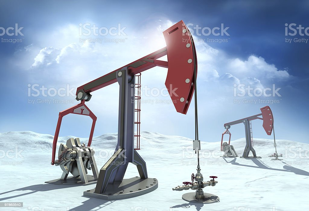 Oil Rig : Pump jacks in the north royalty-free stock photo