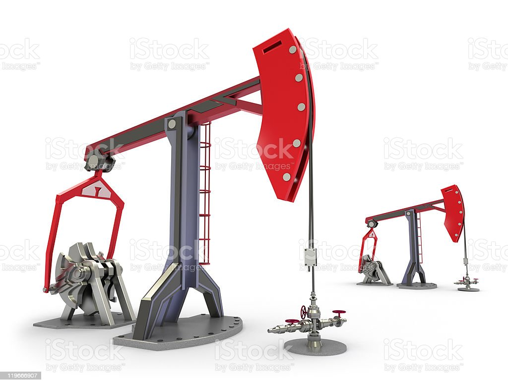 Oil Rig : Pump jacks isolated on white royalty-free stock photo