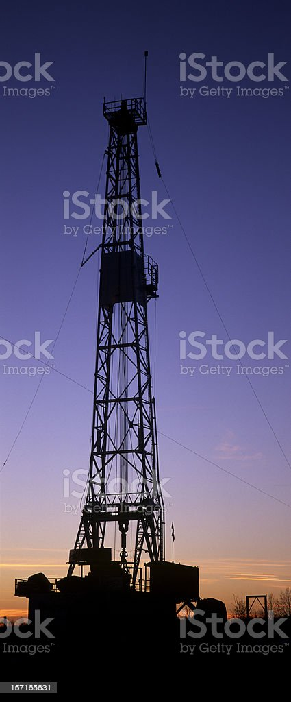 Oil Rig Silhouette Vertical Panoramic stock photo