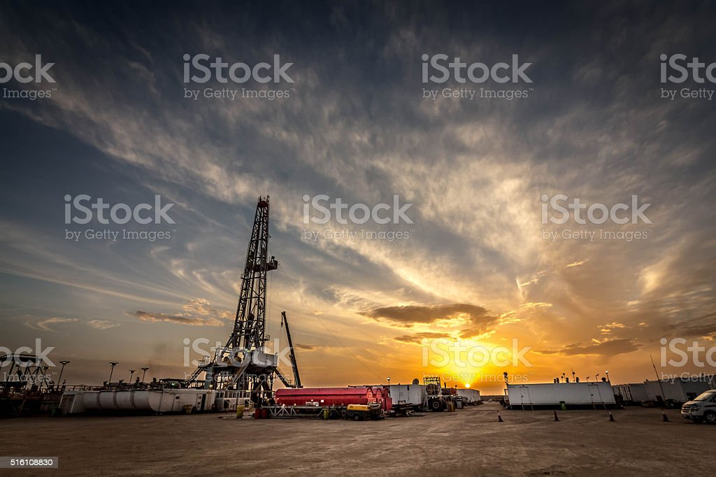 oil rig site stock photo